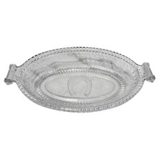 EAPG Adams Glass Good Luck Horseshoe Prayer Rug Pickle Relish Oval Dish