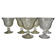 Wavy Ribbed Ball Stem Parfait Sherbets Set of 6 Clear Glass