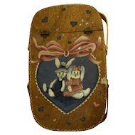 Bunnies Hand Painted Folk Art Signed Deb Schmitt Wooden Basket Hinged Lid
