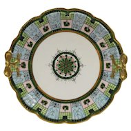 Noritake Nippon RC Hand Painted Art Deco Moriage Bow Handle Plate 10 IN 1906