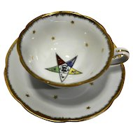 Lefton OES Order of Eastern Star Decorated Porcelain Cup and Saucer