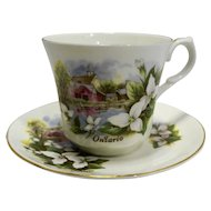 Ontario Souvenir Cup Saucer Springfield Bone China Porcelain Made in England