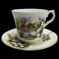 Ontario Souvenir Cup Saucer Springfield Bone China Porcelain Made in England