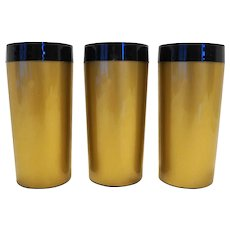 West Bend Thermo Serv Black Gold Insulated Plastic Tumblers 1970s Set of 3