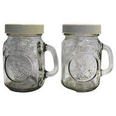 Golden Harvest Salt Pepper Shakers Glass Mini Mason Jars White Lids