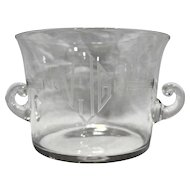 Art Deco Blown Glass Champagne Wine Chiller Ice Bucket Clear Cut Monogram