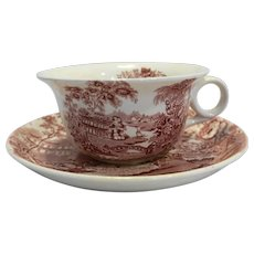 Alfred Meakin Tonquin Red Pink Transferware Large Jumbo Soup Mug With Underplate Saucer