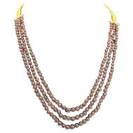 Natural Garnet Triple Strand Adjustable Necklace Round Beads