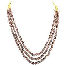 Natural Garnet Triple Strand Adjustable Necklace Round Beads