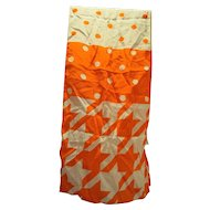 ECHO Orange White Silk Geometric Print Oblong Scarf Dots Houndstooth 56 IN