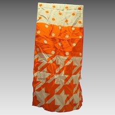 ECHO Orange White Silk Geometric Print Oblong Scarf Dots Houndstooth 56 IN