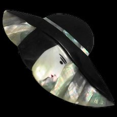 Lady Hat Figural PIn Black Plastic Abalone Mother of Pearl Inlay Large 4 IN