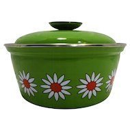 Spring Green Enamel Small Dutch Oven Pot Flower Power Daisies White Orange