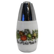 Gemco Spice of Life Pepper Shaker Milk Glass Vegetables Le Poivrier