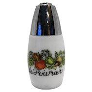 Gemco Spice of Life Pepper Shaker Milk Glass Vegetables Le Poivrier