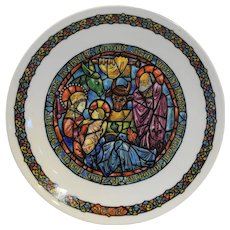 Porcelaine de Limoges Collector Plate Noel Vitrail Dans La Creche Christmas Stained Glass