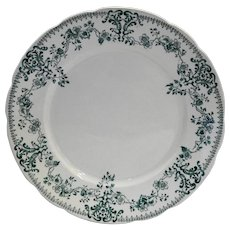 W H Grindley Milan Blue Green Transferware 1890s Victorian Floral
