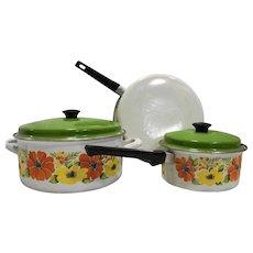 Orange Yellow Flower Porcelain Enamel Cookware Set 5 Pcs 1970s Pots Pans