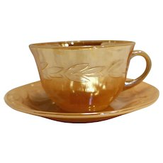 Fire King Peach Lustre Cup Saucer Anchor Hocking