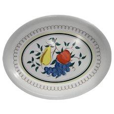 Kenro Oval Fruit Decorated Large Melmac Melamine Platter 1960s