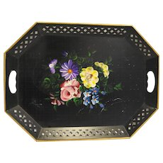 Nashco Black Hand Painted Floral Metal Tole Tray Pierced Rim