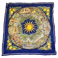 Florida Souvenir Cotton Printed Scarf Blue 26 IN Square