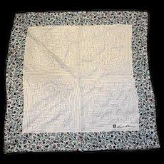 Anne Klein Lion Silk Scarf Maze Print Floral Border 26 IN