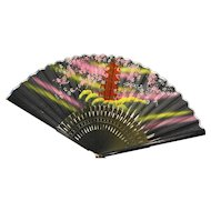 Hand Painted Silk Bamboo Folding Fan Japanese Tea Garden San Francisco Souvenir