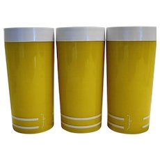 Morgan Designs Company Retro Yellow White Insulated Plastic Tumblers Pair