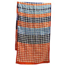 Echo Red White Blue Dot Stripe Long Silk Scarf 64 x 16