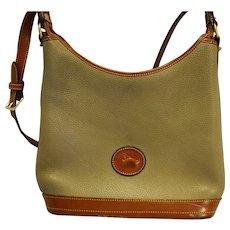 Dooney and Bourke Pebbled Leather Taupe British Tan Bucket Hobo Shoulder Bag Purse