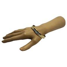 Napier Gold Tone White Enamel Bangle Bracelet