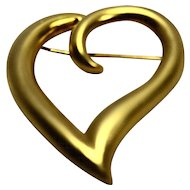 Gold Tone Matte Finish Open Outlined Heart Pin