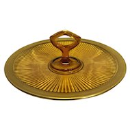 Adams Rib Amber Depression Glass Ribbed Tidbit Sandwich Center Handle Tray Gold Encrusted Rim