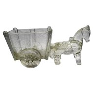 Large Horse Pony Donkey Pulling Cart Clear Glass Candy Dish