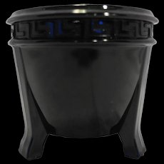 L E Smith Black Depression Glass Greek Key Vase 1930s Three Toe Cache Pot