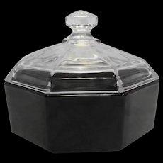 Octime Black Glass Clear Lid Sugar Bowl Creamer Pair Arcoroc France