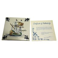 KLM Polychrome Delft Tile Coaster Ship Series C2 17th Century Warship