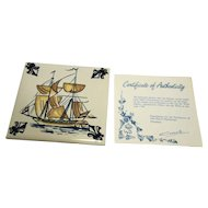 KLM Polychrome Delft Tile Coaster Ship Series C4 Man O'War