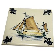 KLM Polychrome Delft Ship Series Tile Coaster C5 Hay Barge
