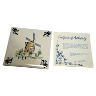 KLM Polychrome Delft Tile Coaster Mill Series A5 Towermill