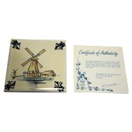 KLM Polychrome Delft Tile Coaster Mill Series A1 Spicemill