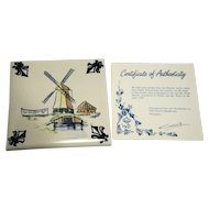 KLM Polychrome Delft Tile Coaster Mill Series A3 Watermill