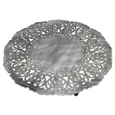 Silver Plated Trivet Pierced Scrolls Round 7 IN Made in Denmark