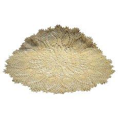 Crochet Doily Cream Ecru Round 24 IN Pineapple Peacock Feather