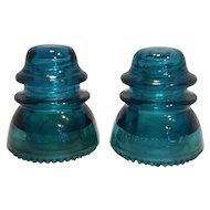Hemingray 42 Blue Teal Glass Insulators Pair Made in USA