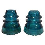 Hemingray 42 Blue Teal Glass Insulators Pair Made in USA