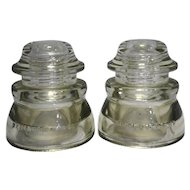 Hemingray 45 Clear Insulators Pair Made in USA