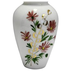 Hand Painted Blown White Milk Glass Large Urn Shaped Vase Pink Gold Floral Signed