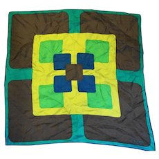Echo Silk Scarf Square Geometric Color Block Blue Green Brown 21 IN